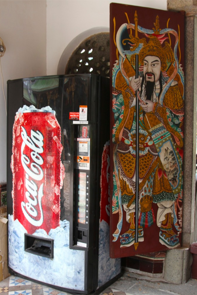 Coke machine at Thian Hock Keng, Temple of Heavenly Happiness, Singapore