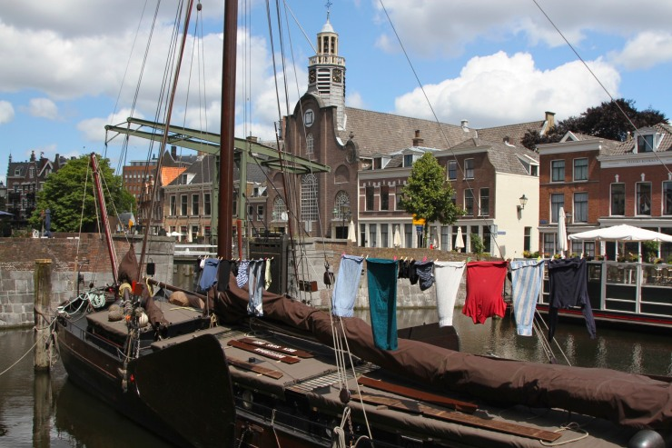 The Pilgrims' Church and boats, Delfshaven, Netherlands