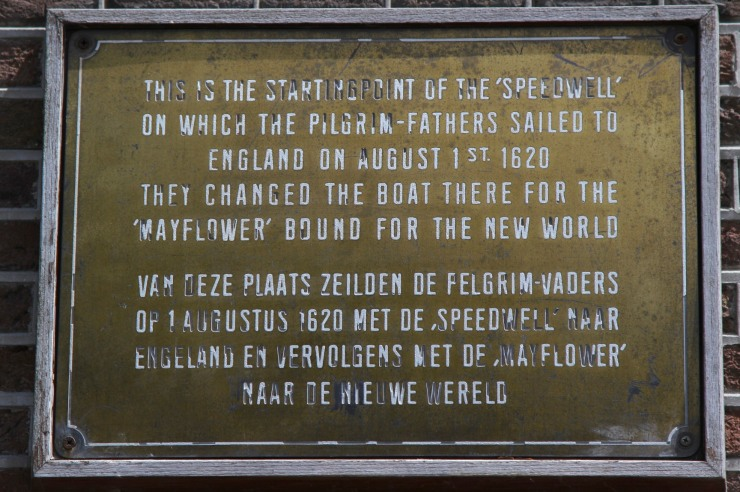 Plaque to the Pilgrim Fathers, Delfshaven, Netherlands