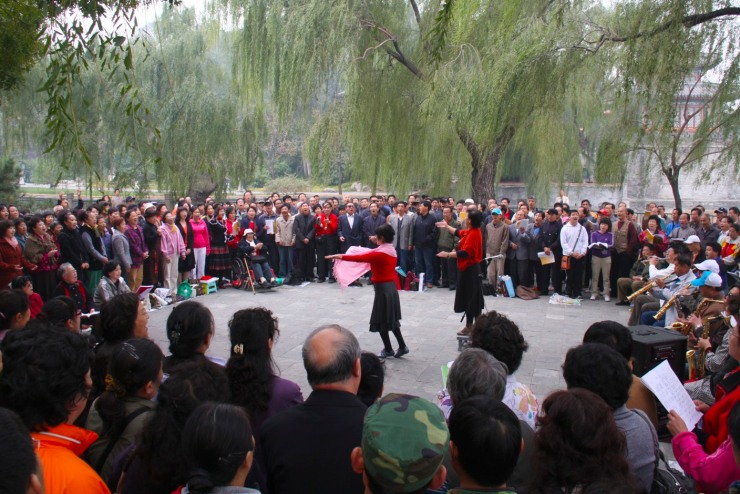 Music and choral singing in Beihai Park, Beijing, China