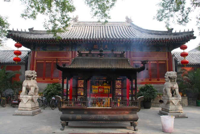 A temple shrine in a hutong, Beijing, China