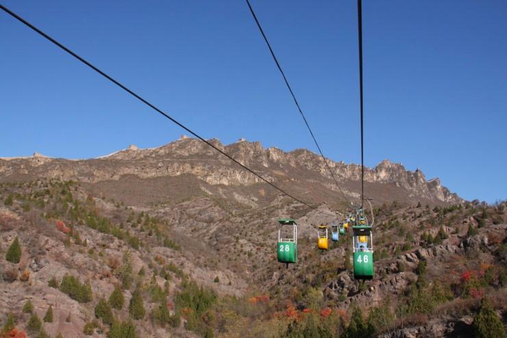 Cable car, the Great Wall of China between Jinshanling and Simatai, China