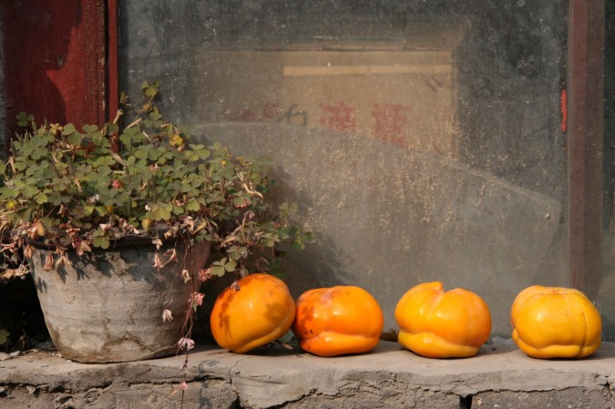 Fruits on a window ledge in a hutong, Beijing, China