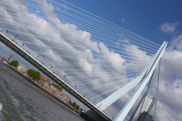 Erasmusbrug from the Nieuwe Maas river, Rotterdam, Netherlands