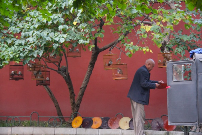 An old man With caged songbirds near Beihai Park, Beijing, China