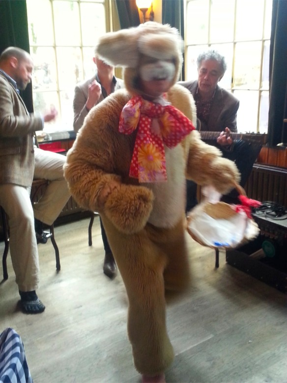 Live music and a man in a rabbit costume in Delft, Netherlands