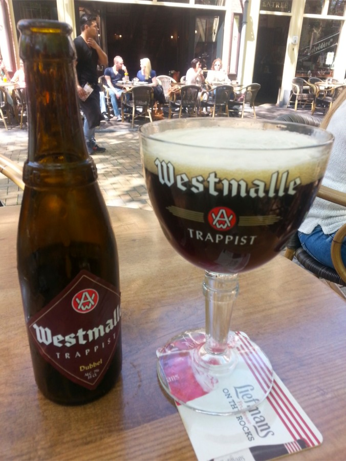 Malty and dark Trappist beer, Westmalle Dubbel, tasted in The Hague