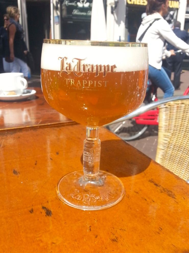 La Trappe Blond, sat beside a canal in Amsterdam