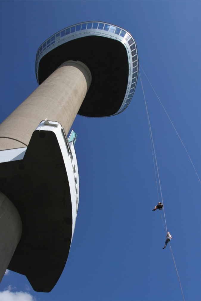 Abseiling down the Euromast, Rotterdam, Netherlands