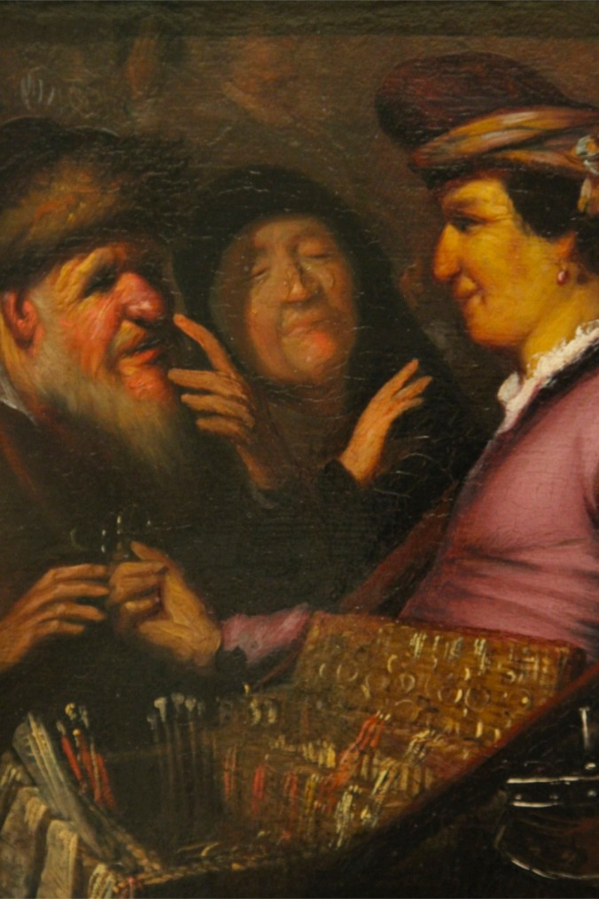 The Spectacles Seller by Rembrandt, Lakenhal, Leiden, Netherlands