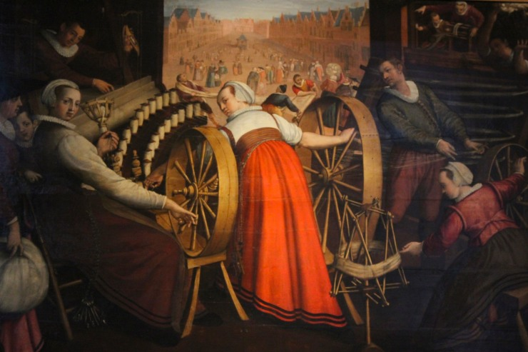 Spinning, Shaving the Chain and Weaving by Isaac Claesz. of Swanenburg, Lakenhal, Leiden
