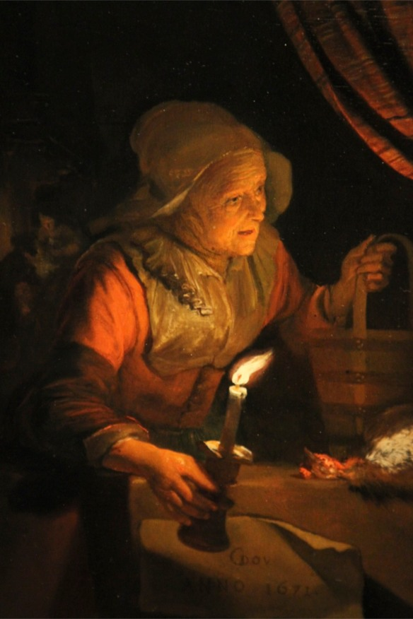 Housemaid with Oil Lamp by Gerrit Dou, Lakenhal, Leiden, Netherlands