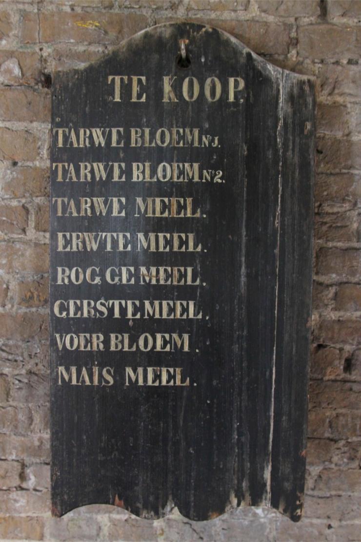Flour sales board, De Valk windmill, Leiden, Netherlands