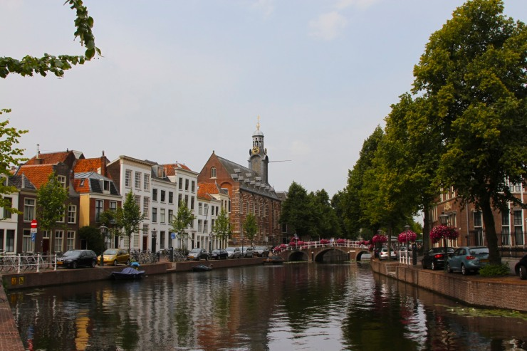 Canal and the University of Leiden building, Leiden, Netherlands