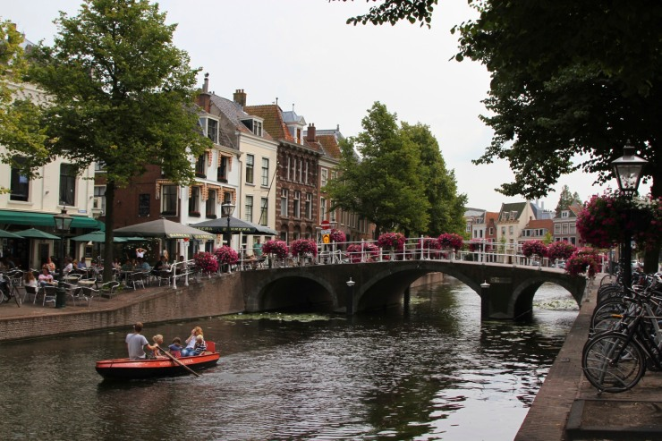 Boats and canal, Leiden, Netherlands