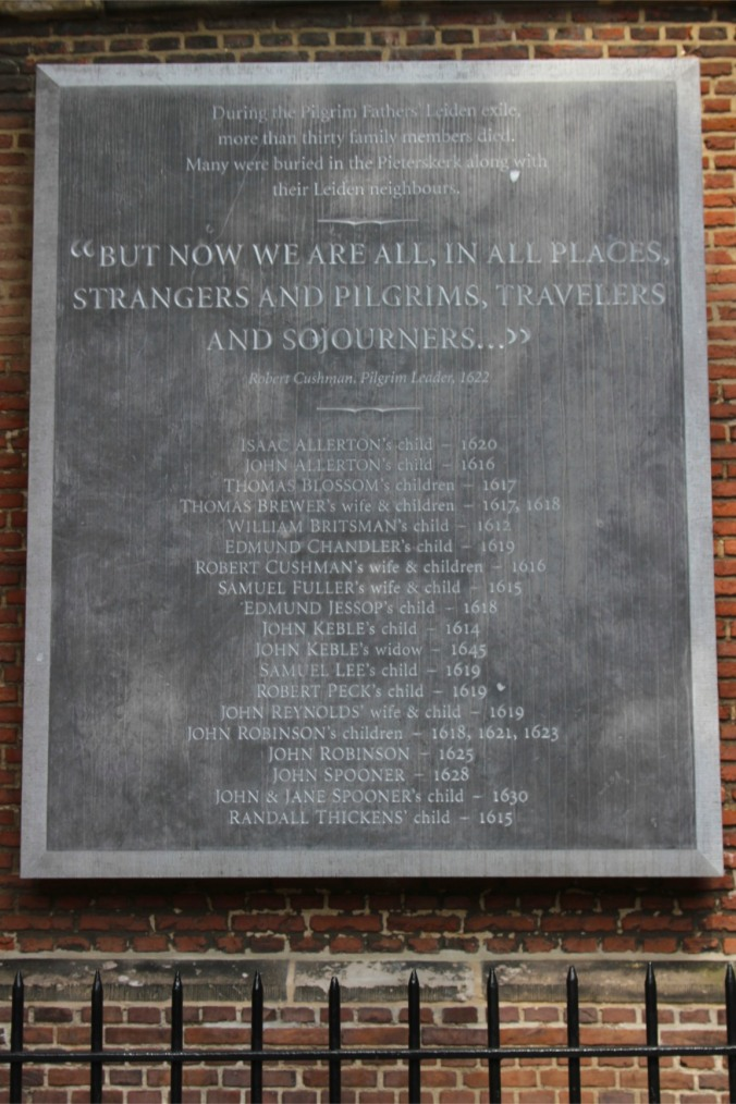 Memorial to the Pilgrim Fathers, St. Pieterskerk, Leiden, Netherlands