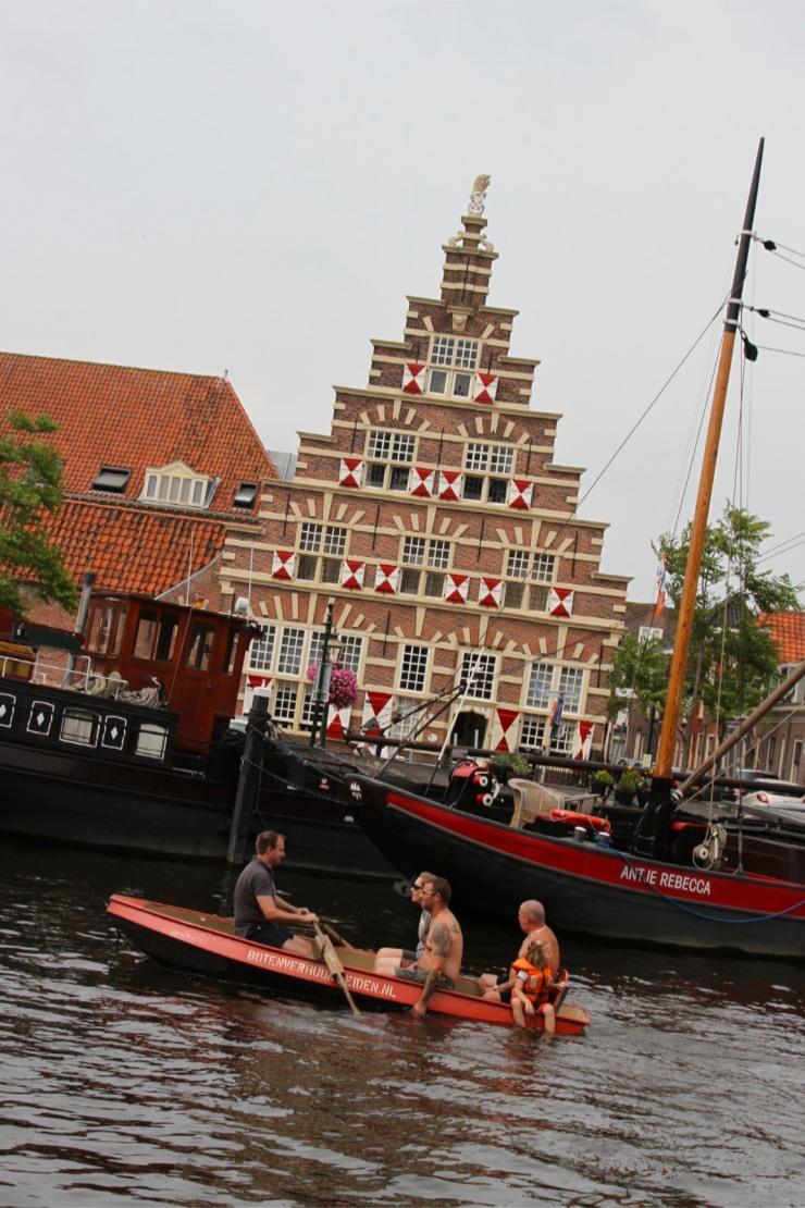 Houses overlooking the Oude Rijn, Leiden, Netherlands