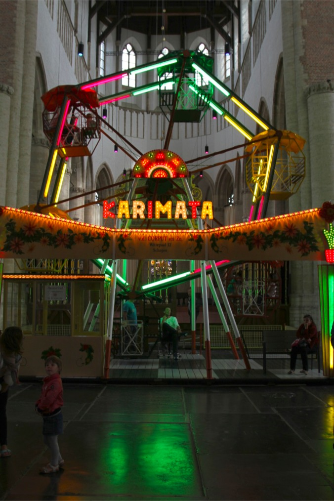 Funfair in St. Pieterskerk, Leiden, Netherlands