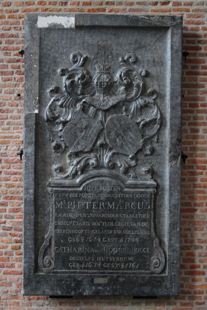 Grave stone in St. Pieterskerk, Leiden, Netherlands