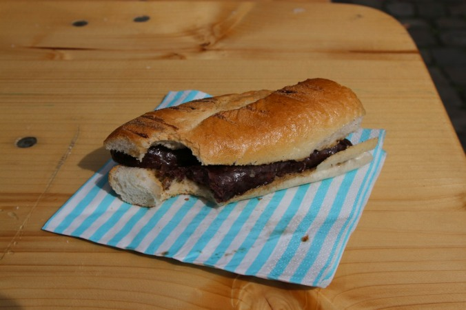 Morcilla sandwich at the food market, Leiden, Netherlands
