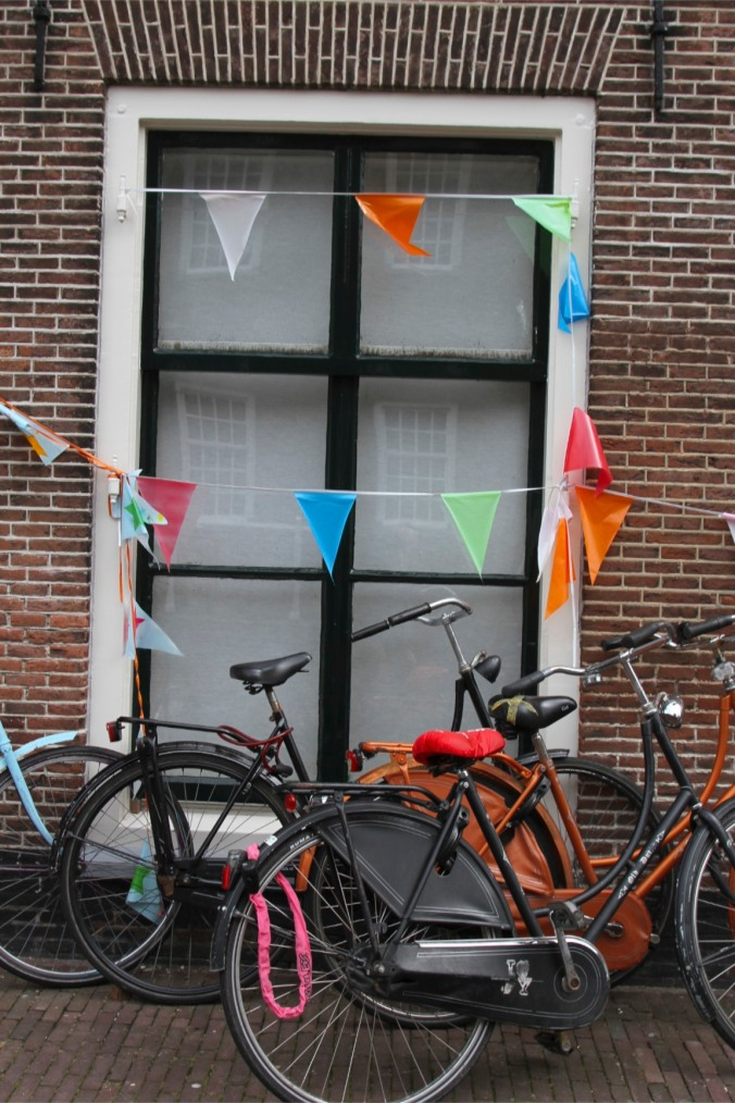 Bunting and bikes, Leiden, Netherlands