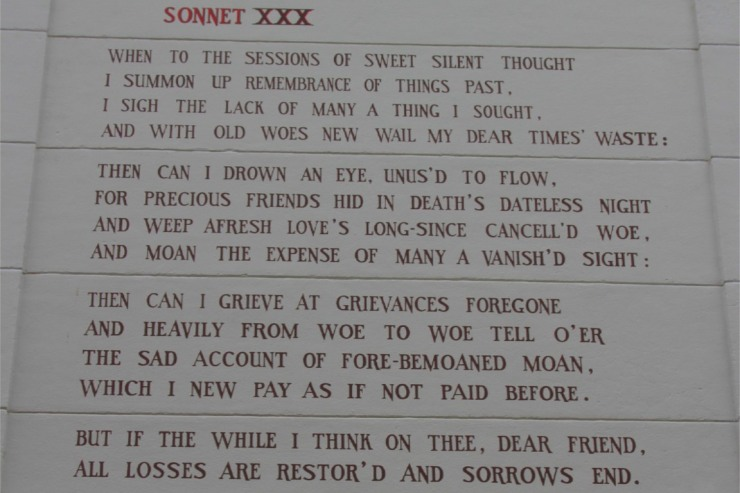 Shakespeares Sonnet XXX on a wall in Leiden, Netherlands