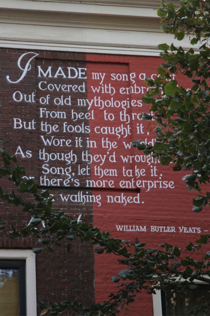 Yeats's poem high on a wall, Leiden, Netherlands