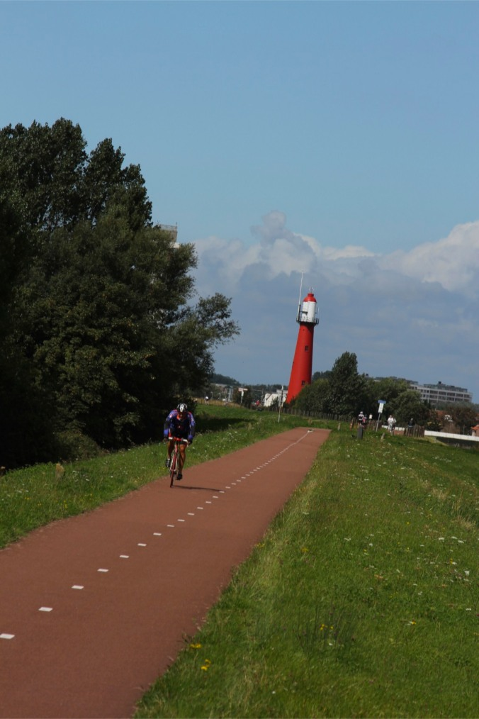 Cycle route and lighthouse, Hook of Holland, Netherlands