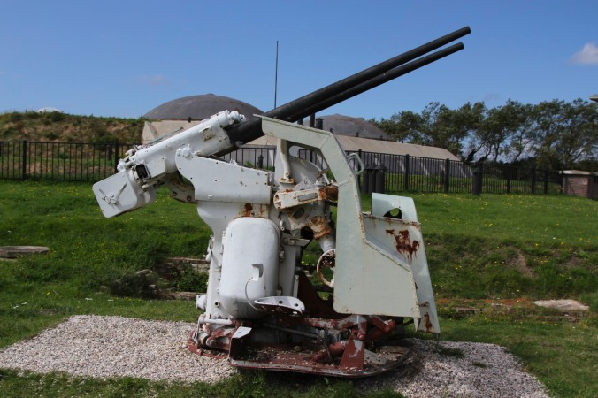 Anti aircraft gun, Fort 1881, Atlantic Wall at Hook of Holland, Netherlands