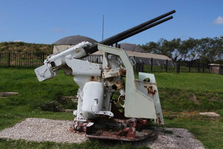 Anti aircraft gun, Fort 1881, Atlantic Wall at Hook of Holland, Netherlands