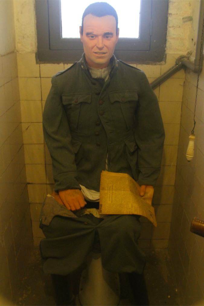 Mannequin on the toilet! Fort 1881, Atlantic Wall at Hook of Holland, Netherlands