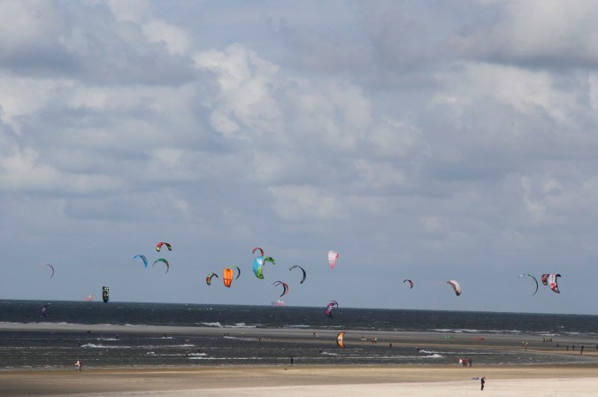 Kite surfers on North Sea Coast, Netherlands