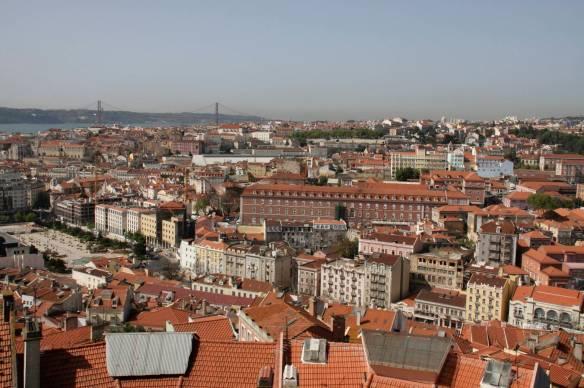 View over Lisbon towards 25 de Abril Bridge, Lisbon, Portugal
