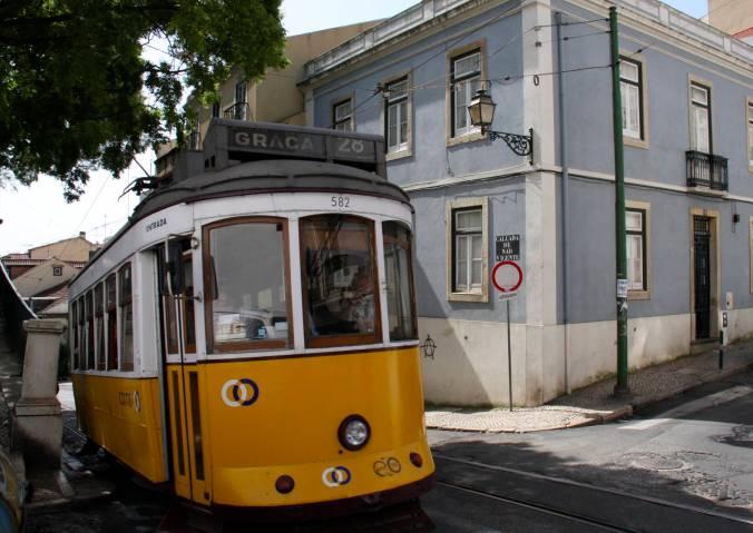 Yellow tram, Lisbon, Portugal