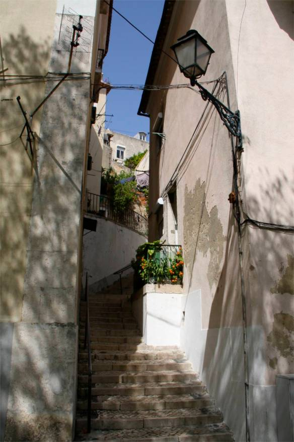 Street in the Alfama District, Lisbon, Portugal