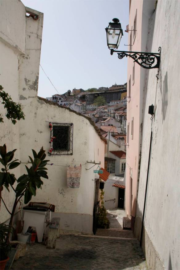 Streets in the Alfama district, Lisbon, Portugal