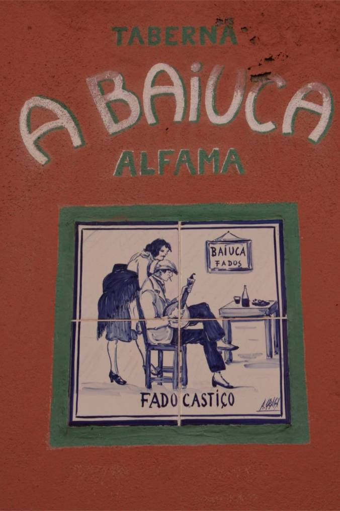 Fado tiles in the Alfama district, Lisbon, Portugal
