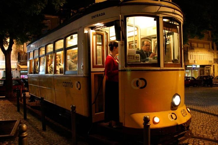 Tram at night, Lisbon, Portugal