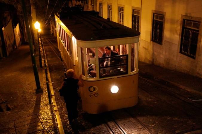 Tram at night, Lisbon, Portugal