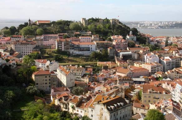 View over Lisbon towards Castelo de São Jorge, Lisbon, Portugal