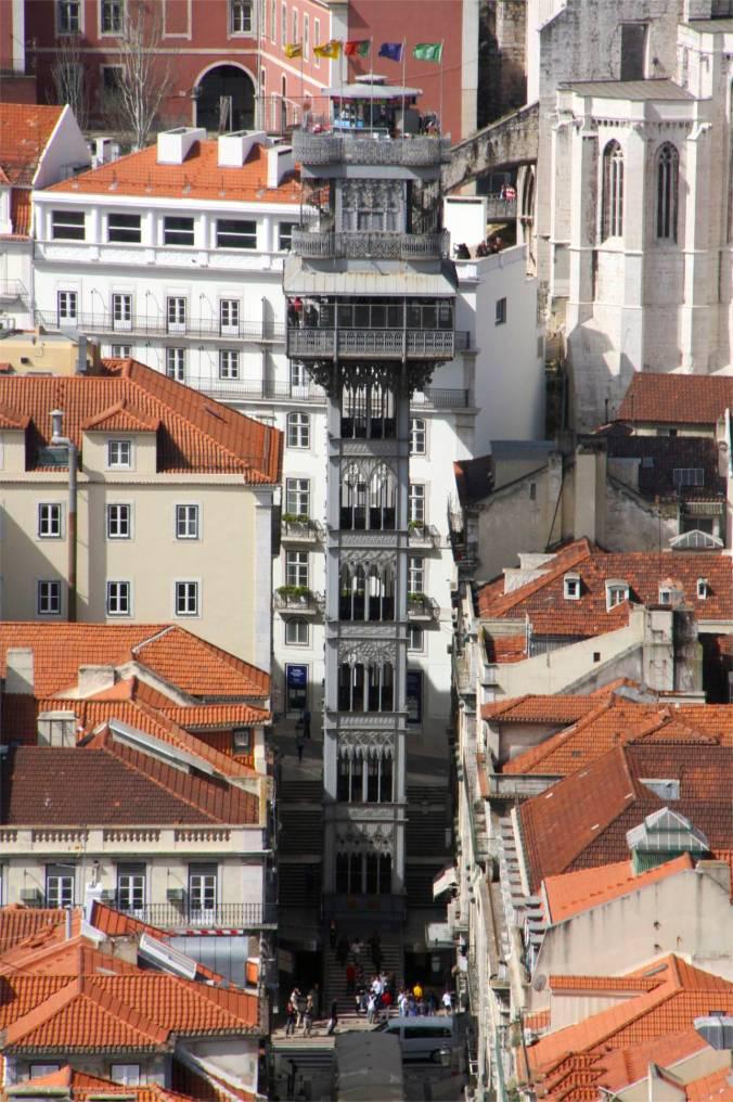 View over Lisbon towards the Santa Justa Elevator, Lisbon, Portugal
