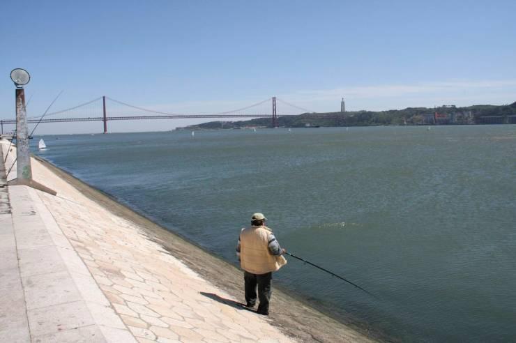 Fisherman on the Rio Tejo Lisbon, Portugal