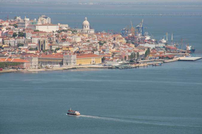 The Rio Tejo or River Tagus with Lisbon in the background, Portugal
