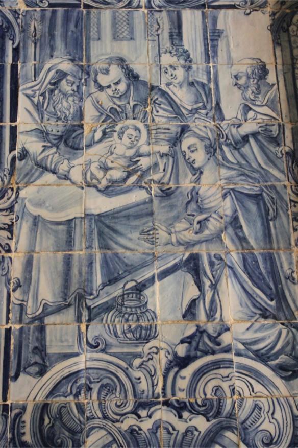 Tile, Convento de Cristo, Knights Templar fortress at Tomar, Portugal