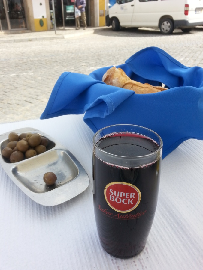 A glass of wine with lunch in Evora, Portugal