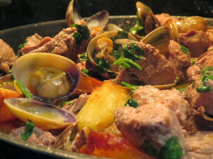 Traditional Alentejo cuisine, Porco à Alentejana, Monsaraz, Portugal