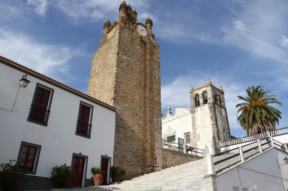 Clock tower and Igreja de Santa Maria, Serpa, Alentejo, Portugal