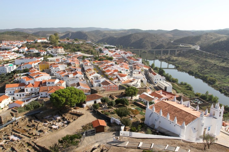View over Mertola and the Rio Guardiana from the castle, Mertola, Portugal
