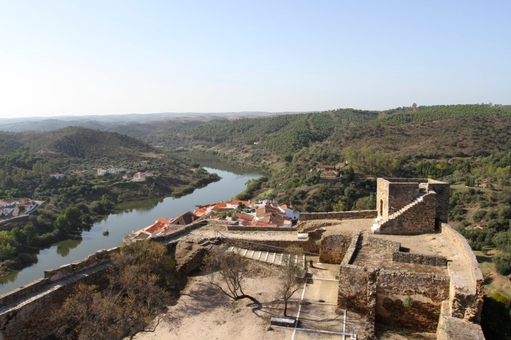 View over the Rio Guardiana from the castle, Mertola, Portugal