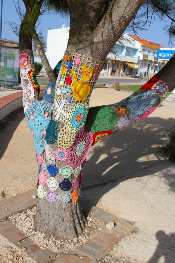 Yarn bombing in Sagres, Portugal
